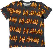 Short Sleeve T shirt, Def Lepard Size Large, Band shirt Music, grey, logo print