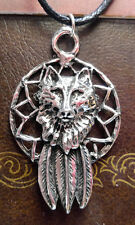 WOLF DREAM CATCHER AMULET ~ Pewter PENDANT w/ black necklace cord  ~ PROTECTION