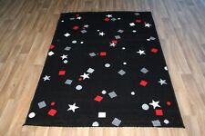 Large Black Grey Red Star Print Rug 120cm x 170cm Stars Pattern Dazzle Rug