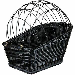 BEAUTIFUL Wicker Rear Mounted Bike Bicycle Basket Pet Dog Carrier Safe Transport