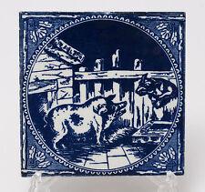 Antique Victorian Minton Blue & White Printed Tile - Wolf & Pig