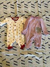 Lot Of 2 Newborn Pajamas Footies Baby Girl Hearts and Elephant