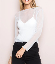 Women Sparkle Mesh Sheer See-through Long Sleeve Crop Top Glitter Blouse T-Shirt