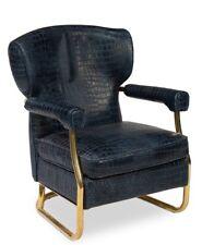 "28"" W Crocodile Arm Chair Blue Croc Pattern Leather Modern Brass Metal Frame"