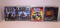Rock Band 1 2 Guitar Hero Warriors of Rock & World Tour PS3 Lot Tested & Works