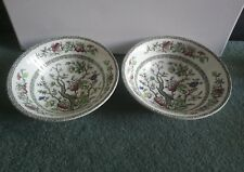 "2 x Indian Tree Pattern bowls cereal dessert 6.5"" 50s meakin pair"