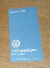 Volkswagen VW Price Guide 1970-Coccinelle 1500 KARMANN GHIA Microbus Danbury Devon