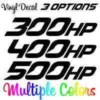 300HP, 400HP, 500HP Horsepower Decal Vinyl Die Cut Sticker Choose Your Options