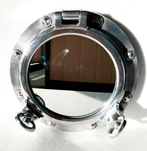 Antique 43.18 cm Nickel Plated Heavy Boat Porthole Window Ship Round Mirror