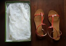 KATE SPADE IMOGENTOO PATENT LEATHER SANDALS, SIZE 9 CORAL
