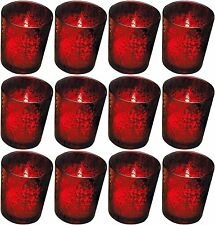 Rustic Glass Votive Holder Red Set of 12 Tea Light Candle Cups Christmas Decor