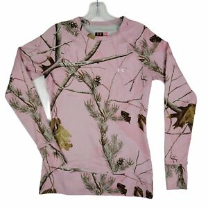 UNDER ARMOUR Womens Small Pink Camo Realtree Fitted Compression Shirt Hunting
