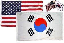 Wholesale Combo USA & South Korea Country 3x5 3'x5' Flag & Friendship Lapel Pin