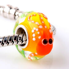 Murano Glass Bead Animals Fish Charm Sterling Silver Core For Bracelets GE