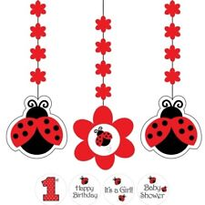 LADYBUG FANCY LADY BUG PARTY SUPPLIES 3 DANGLING CUTOUTS HANGING DECORATIONS