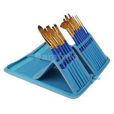 15pcs Blue Artist Nylon Paint Brushes for Watercolor Oil Acrylic Painting
