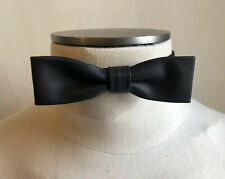 DSQUARED² CLASSIC SOLO BLACK SMOOTH LEATHER & SILK BOW TIE S ONE SIZE PAPILLON