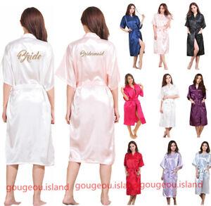 UK Long Personalized Satin Wedding Robe Bridesmaid Bride Dressing Gown Stock