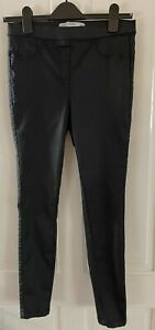 Next Black Pull On Sculpt Leggings - Leather Look Jeans Style - Size 12 R