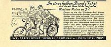 Wanderer-Werke Siegmar-Schönau FAHRRÄDER   Historische Reklame von 1938