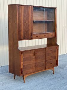 Mid Century Modern Walnut With Rosewood Inlay Hutch/ china Cabinet  by Kroehler