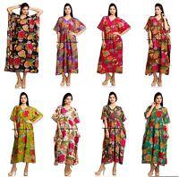 Indien Coton Caftan Grande Taille Imprimé Floral Robe Été Long Caftan Bathe Robe