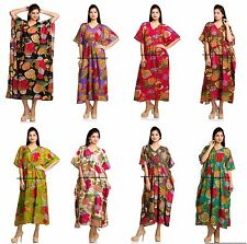 Indian Cotton Kaftan Plus Size Floral Print Summer Dress Long Kaftan Bathe Rob
