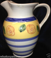 CALECA SORRENTO ITALY PITCHER 64 OZ BLUE & YELLOW BANDS PINK FLOWERS