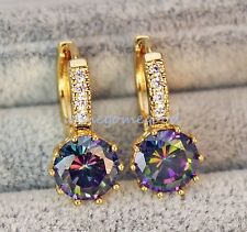 18K Yellow Gold Filled -MYSTICAL Rainbow Round Topaz Cocktail Hoop Earrings Gold