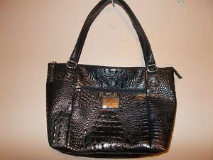 Marc Fisher Snakeprint Black Large Shoulder Bag 2 Handles
