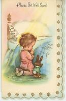 VINTAGE CHILD GIRL PINK PAJAMAS PRAYING TOY BUNNY RABBIT BED GREETING CARD PRINT