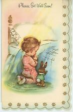 VINTAGE CHILD GIRL PINK PAJAMAS PRAYING TOY BUNNY RABBIT BED GREETING CARD PRINT