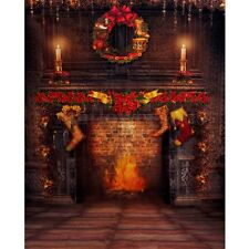 5x7FT Christmas Fireplace Vinyl Photography Background Photo Studio Backdrop