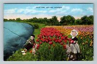 Holland MI, Tulip Time, Dutch Children, Boy Fishing, Linen Michigan Postcard