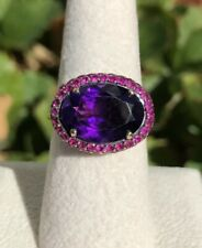 Designer Alwand Vahan 14K Yellow Gold Oval Amethyst & Red Ruby Pave Ring