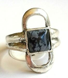 Spotted Jasper Boho Cocktail Ring Size 9 Gray Black Stone Art Deco Silver Plated