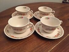 Warwick USA, WV China Pink Yellow Floral ~  Set of 4 ~ Cups & Saucers ~ 2 1/4""