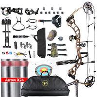 "Topoint Archery Trigon 15-70 lbs Compound Bow 320 fps 24pcs 30"" Arrows Set"