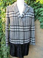 Marks & Spencer Ladies Limited Edition Black & White Wool Mix Coat Size 12