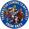 PERSONALISED MARVEL AVENGERS GLOSS BIRTHDAY PARTY,STICKERS,SWEET CONE LABELS