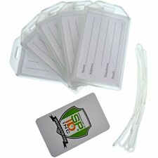 25 Pack - Heavy Duty Rigid Airline Luggage ID Bag Tag Holders with Plastic Loops