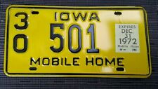 1972 Iowa Mobile Home License Plate Tag  #501 Dickinson County