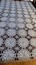 "Vintage Handmade Crochet White color Lace Tablecloth 78"" x 78"" Flower Star net"
