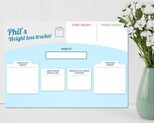 Personalised Dry wipe weight loss tracker. Whiteboard weight loss chart.