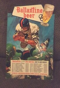 🔥Vintage Football 1960's NFL Ballintine Beer Schedule Display Board RARE