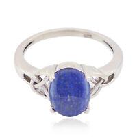 schöne Edelstein Oval Cabochon Lapislazuli Ring 925 Silber Geschenk Kindertag DE