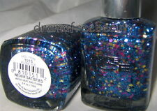 Pure Ice Nail Polish *NEVER SATISFIED* Micro Blue w/Pink &Silver Hex Glitters BN