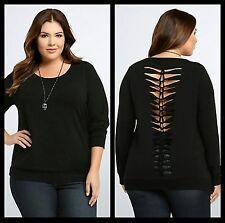 NWT Torrid Women's Plus Size 4 4X Black Slashed Back Sweatshirt (FF19)