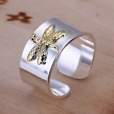 Fashion 925Sterling Solid Silver Jewelry Gold Dragonfly Rings For Women R011