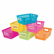 Neon Tall Storage Baskets With Handles - Educational - 6 Pieces